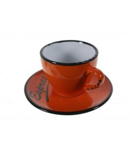 Taza de café con plato estilo vintage retro color naranja con bordes negros servicio de mesa