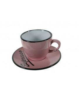 Taza de café con plato estilo vintage retro color rosa con bordes negros servicio de mesa