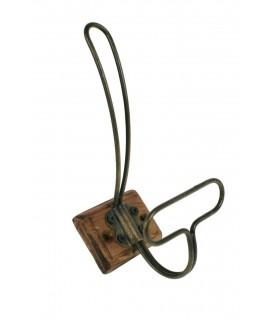 Colgador de pared base madera y gancho bronce estilo antiguo
