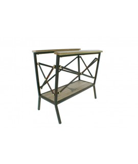 Porte-revues de style vintage en métal et bois