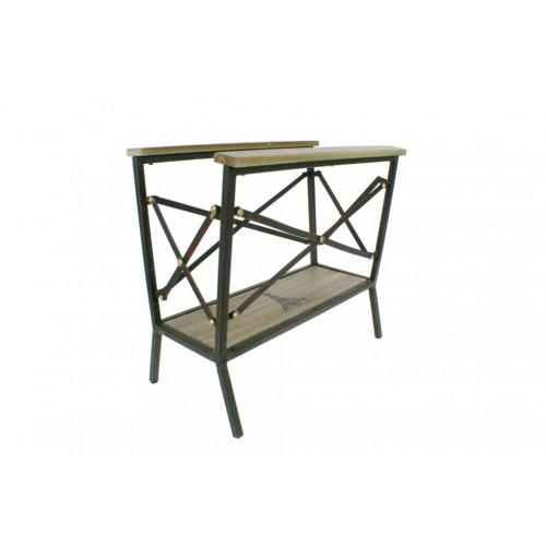 Revistero de metal y madera de suelo estilo vintage