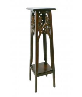 Pedestal de madera tallada de color nogal