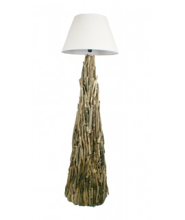 Llum de peu realitzada en troncs estil rústic per decoració llar