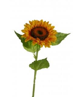 Flor de Girasol artificial con pétalos de tela decoración adorno hogar. Medidas con tallo