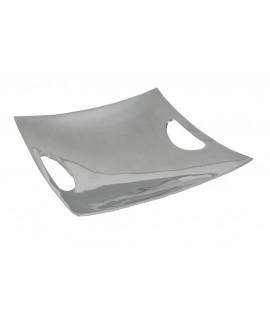 Bandeja vacía bolsillos cuadrada de aluminio. Medidas 6x26x26 cm.