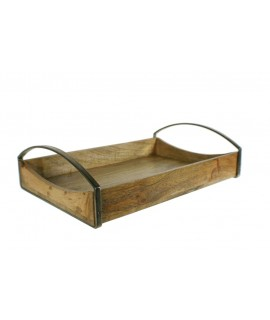 Bandeja o centro de mesa de madera de acacia y metal estilo vintage rustico decoración hogar