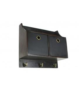 Mueble colgador pequeño de madera  color nogal oscuro para cocina