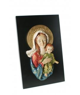 Placa con Virgen  María y Niño Jesús para pared. Medidas: 23x15x5 cm.
