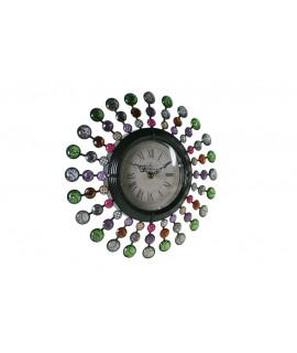 Reloj pared estructura metálica aplicaciones de cristal colores variados