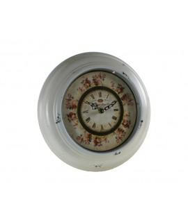 Reloj redondo pared metal blanco decoración floral esfera vintage hogar