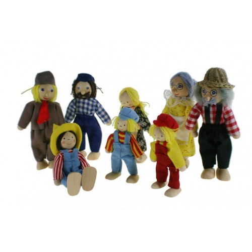 Muñecas articulados de madera miembros de familia de granjeros