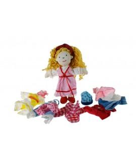 Muñeca de tela con seis conjuntos de ropa para vestir