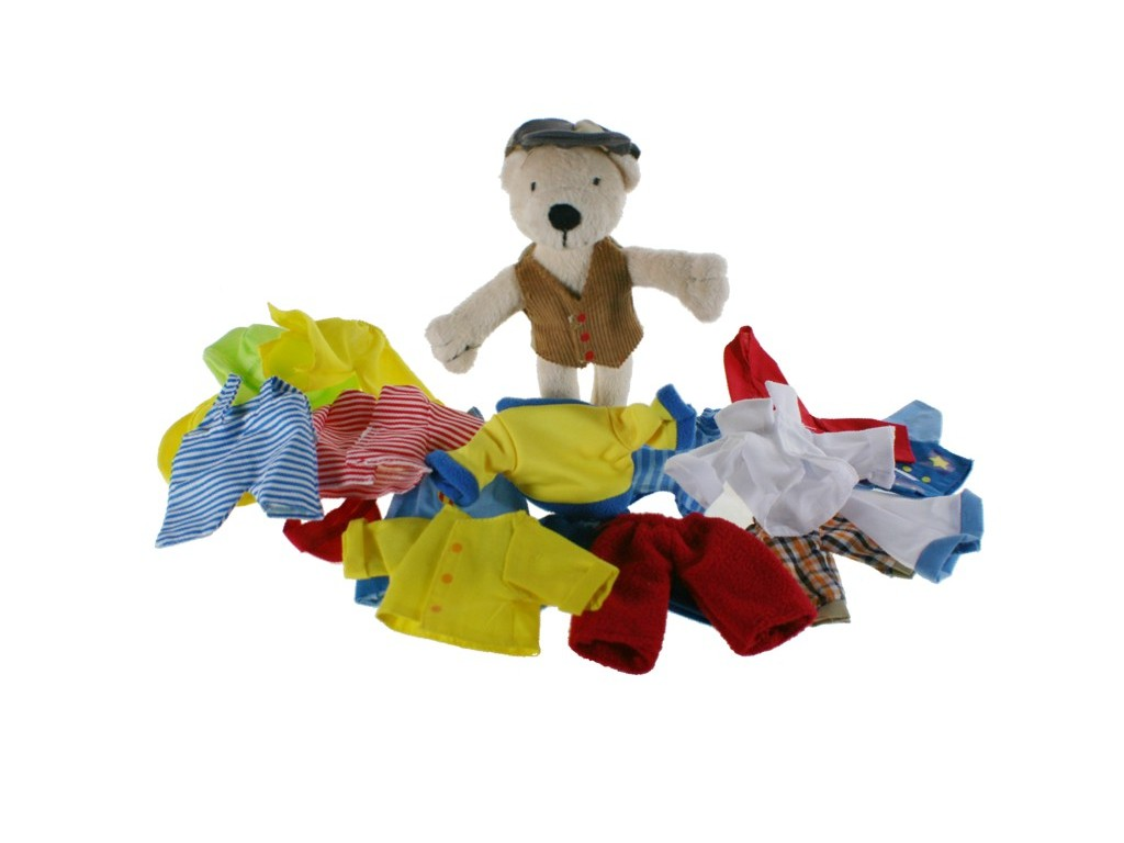 Muñeco peluche osito con ropa para vestir juguete tradicional