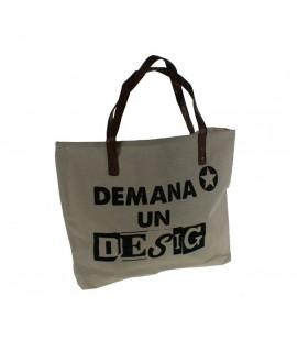 Borsa multiús color blanc amb nanses amb eslògan Demanà UN DESIG bossa bandolera ideal per a la platja