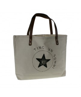 Borsa multiús color blanc amb nanses amb eslògan TINC UN SOMNI bossa bandolera ideal per a la platja