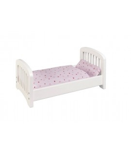 Cama de madera para muñecas color blanco edredón y cojín color rosa
