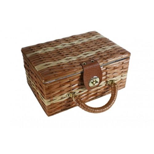 Costurero cesta mimbre pequeño costura bordado para almacenaje