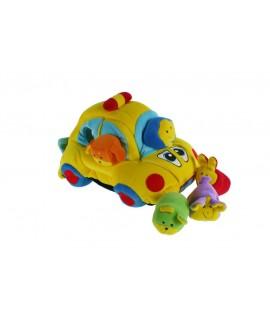 Cotxe de tela amb figures en formes geomètriques. Motricitat infantil.