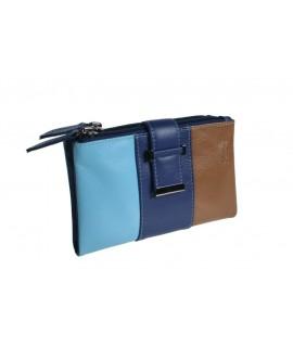Portefeuille portefeuille dame peau tricolore très doux au toucher.
