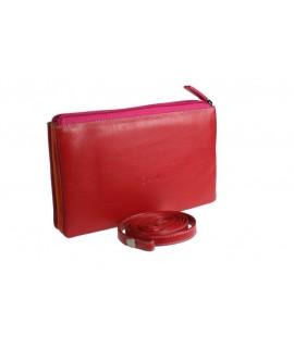 Grand sac à main rose pour documents et cartes en cuir de vachette avec fermeture à glissière