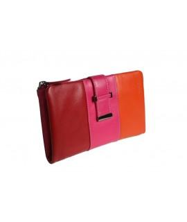 Portefeuille porte-monnaie Lady tricolore rouge orange rose très doux au toucher
