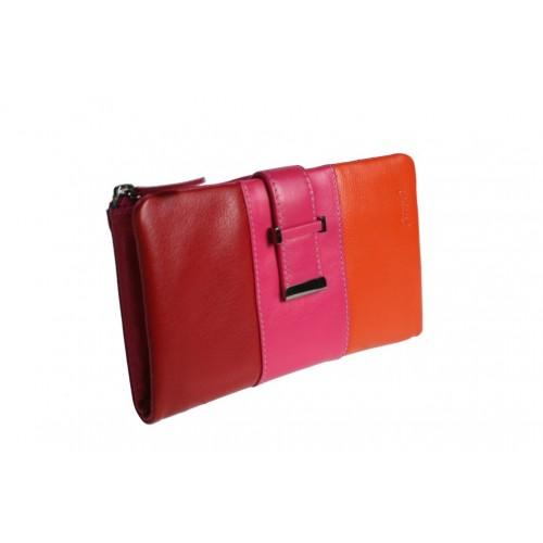 Monedero billetero Señora tricolor rojo naranja rosa muy suave al tacto