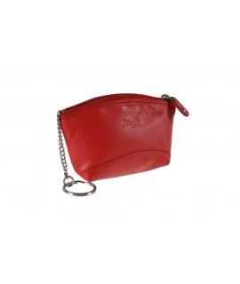 Porte-clés et petit portefeuille unisexe en cuir de vachette rouge