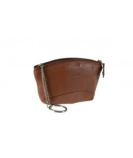 Porte-clés et petit sac à main unisexe marron en cuir de vachette