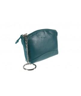 Porte-clés et petit portefeuille unisexe bleu en cuir de vachette