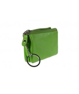 Porte-clés en cuir vert pistache en cuir de vachette avec compartiments.