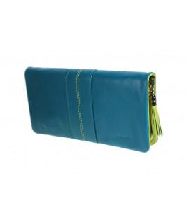 Grand porte-monnaie pour portefeuille en cuir Lady à compartiments multiples, intérieur bleu vert, avec fermeture à glissière