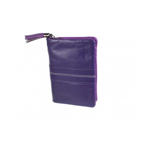 Moneder amb cartera per Senyora de pell color lila molt suau al tacte. Article d'alta qualitat