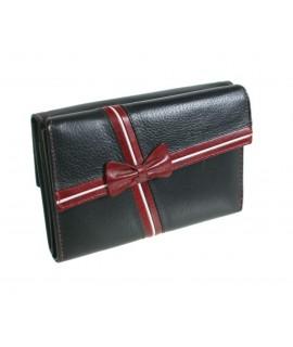 Moneder cartera de pell 100% boví per Senyora de color negre amb llaç molt elegant. Article d'alta qualitat en disseny i mater