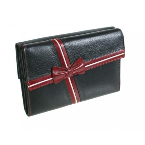 Monedero cartera de piel 100% bovino para Señora de color negro con lazo muy elegante. Artículo de alta calidad en diseño y mat