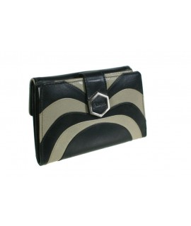 Monedero cartera Señora de piel bicolor negro. Medidas: 15x15x4 cm.