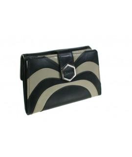 Portefeuille pour dame en cuir noir bicolore très doux au toucher.