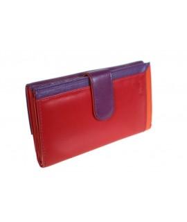 Porte-monnaie pour femme avec une peau rouge et lilas très douce au toucher, à l'intérieur combiné avec des couleurs gaies.