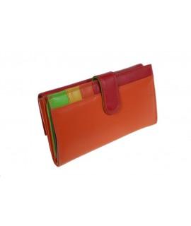 Monedero billetero para Señora de piel color naranja y rojo muy suave al tacto, en interior combinado con alegres colores.