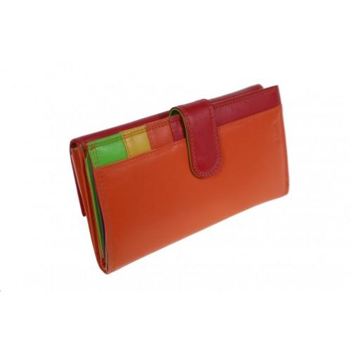 Moneder bitlleter per Senyora de pell color taronja i vermell molt suau al tacte, a l'interior combinat amb alegres colors.