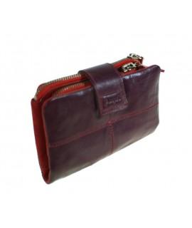 Porte-monnaie pour femme en cuir lilas intérieur rouge