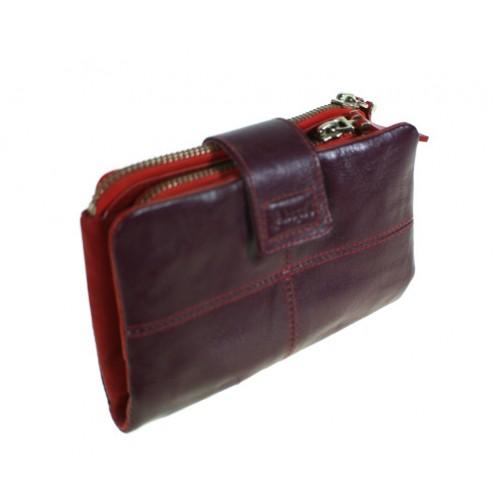 Monedero billetero para Señora en piel color lila interior rojo