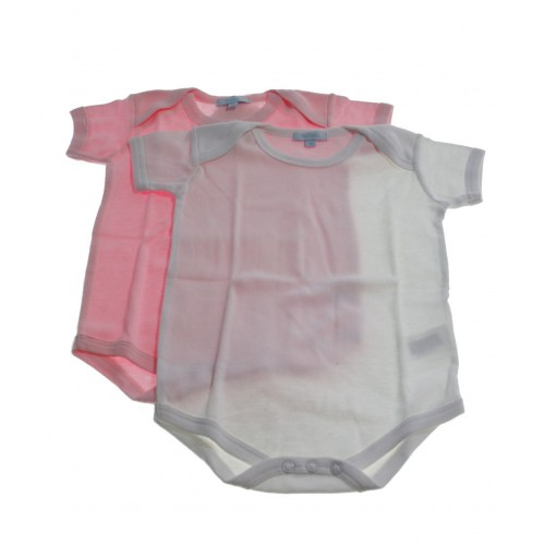 Conjunto bodys color blanco / rosa 9 meses
