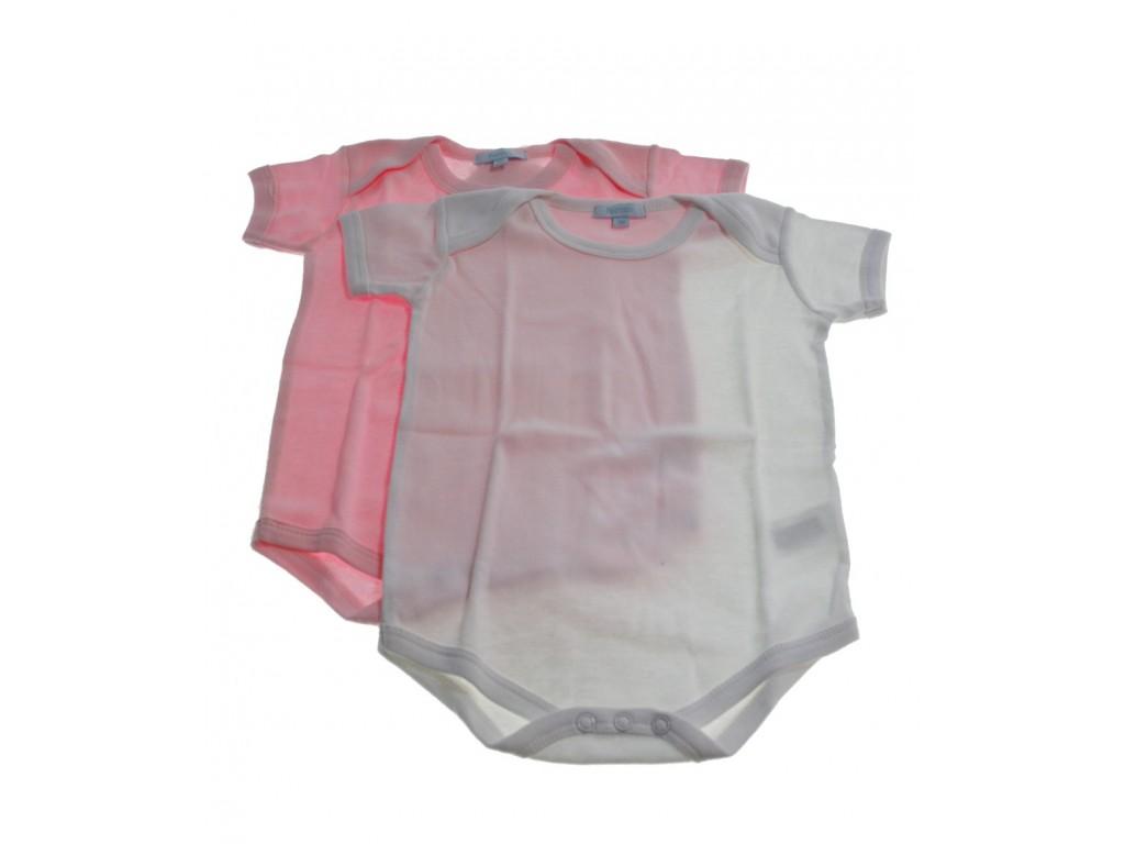 Conjunto bodys color blanco / rosa 9 meses