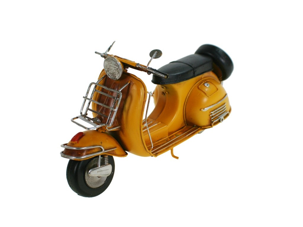 moto scooter vespa de metal color amarillo medidas 17x29x11 cm. Black Bedroom Furniture Sets. Home Design Ideas