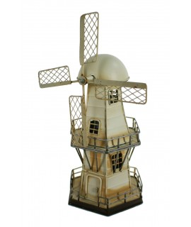 Réplique de moulin à vent en métal blanc