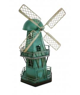 Réplica de Molino de viento en metal color azul