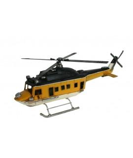 Helicóptero de 4 aspas metal amarillo