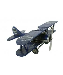 Grande réplique d'avion à double aile bleue et décorée