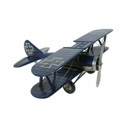 Réplica de avión grande con doble ala de color azul y decorado
