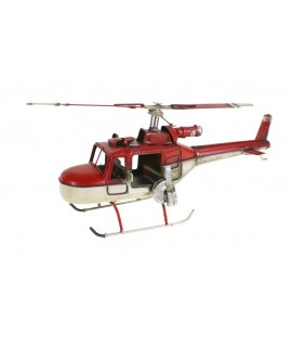 Rèplica d'helicòpter de combat en color vermell i blanc.